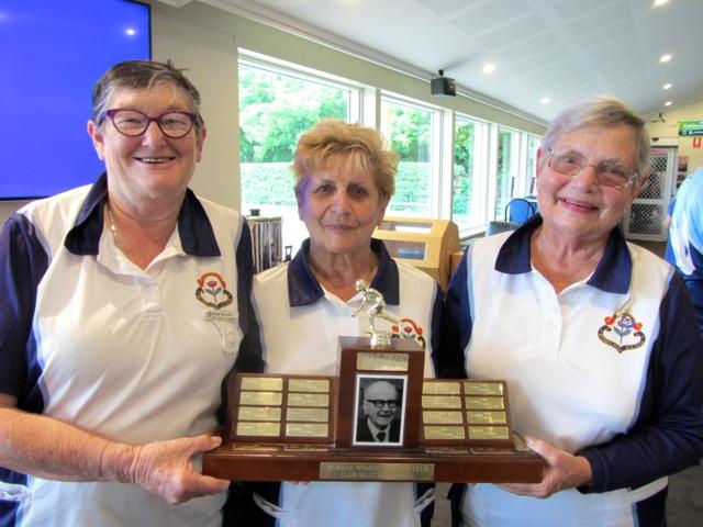 Winners of the Bert Swan Trophy 2017 Enid Brown, Ervy Richetti and Elaine Jones.